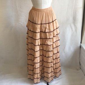 Vintage 70s Tiered Ruffle Maxi Skirt Prairie Dress